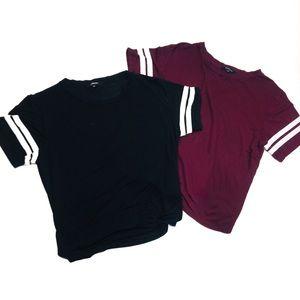 2 t-shirts burgundy and black